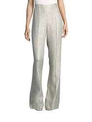 Oscar De La Renta Boot Cut Flat Front Pants Pale Gold