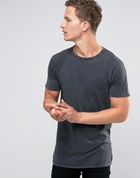 Selected Homme Crew Neck Longline T Shirt Grey