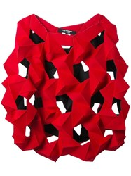 Comme Des Garcons Junya Watanabe Geometric Pattern Oversized Blouse Red