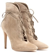 Gianvito Rossi Empire Lace Up Suede Ankle Boots Beige
