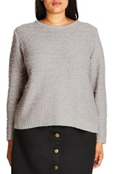 City Chic Plus Size Women's Back Zip Color Pop Sweater Lilac