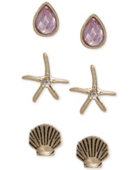 Lonna And Lilly Gold Tone Shell Inspired 3 Pc. Set Stud Earrings