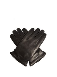 Giorgio Armani Leather And Suede Gloves Black