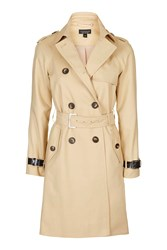 Topshop Military Trench Coat Buttermilk