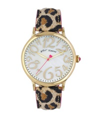 Betsey Johnson Ladies Goldtone And Leopard Print Strap Watch