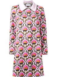 Mary Katrantzou 'Damask' A Line Coat Pink And Purple