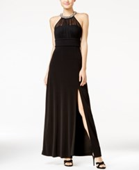 Speechless Juniors' Embellished Ruched Cutout Gown Black