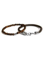 Simon Carter Tigerseye And Leather Bracelets Brown