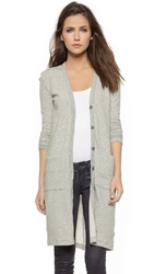 James Perse Long Terry Cardigan French Terry Mini Stripe
