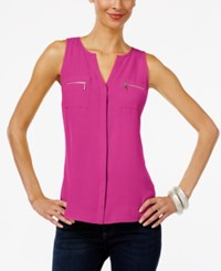 Inc International Concepts Split Neck Zip Pocket Top Only At Macy's Magenta Flame