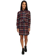 United By Blue Murray Plaid Dress Navy Red Women's Dress Multi