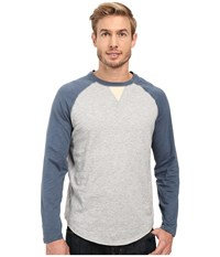 True Grit Vintage Raglan Long Sleeve Tee With Stitch And Trim Detail Vintage Indigo Heather Grey Men's T Shirt Gray