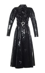 Alessandra Rich Black Plastic Belted Coat