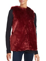 Bagatelle Sleeveless Faux Fur Vest Red