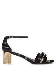 Salvatore Ferragamo Gavina Leather Sandals Black Gold