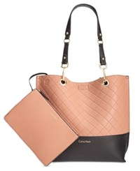Calvin Klein Medium Quilted Reversible Tote With Pouch Deep Blush Black