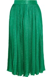 Gucci Pleated Silk Blend Jacquard Midi Skirt Emerald