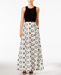 Calvin Klein Floral Print Cross Back Fit And Flare Gown Black White