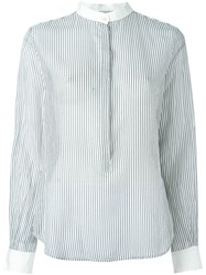 Forte Forte Band Collar Striped Shirt White