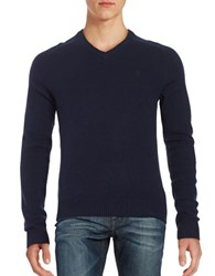 Original Penguin Marled Wool V Neck Sweater Dark Sapphire