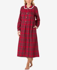 Lanz Of Salzburg Peter Pan Collar Flannel Nightgown Red Plaid