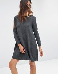 Asos Dress In Knit With Cold Shoulder Detail Charcoal Grey