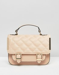 Asos Satchel Bag With Quilted Flap And Metal Side Tab Nude Pink