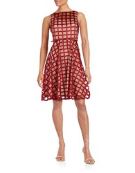 Gabby Skye Grid Mesh Fit And Flare Dress Red Nude