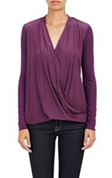 Barneys New York Matte Charmeuse Surplice Top Red
