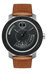 Men's Movado Leather Strap Watch 46Mm