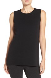 Eileen Fisher Petite Women's Round Neck Wool Crepe Long Tank Black