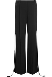 Givenchy Wide Leg Pants In Silk Satin Trimmed Stretch Cady Black