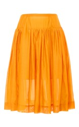 Paule Ka Cotton Silk Blend Full Skirt With Pockets Yellow
