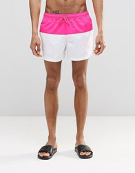 Asos Short Length Swim Shorts In White With Neon Pink Panel Pink