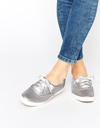 Keds Champion Pewter Metallic Leather Plimsoll Trainers