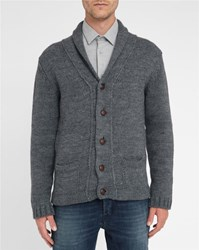 M.Studio Inactive Charcoal Antonin Shawl Collar Wool Blend Cardigan