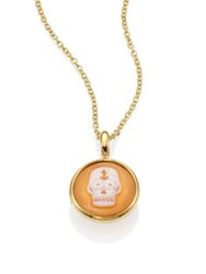 Ippolita Shell Cameo And 18K Yellow Gold Skull Charm