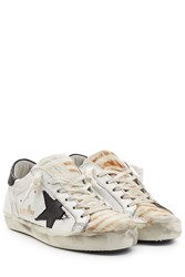 Golden Goose Super Star Leather And Haircalf Sneakers White