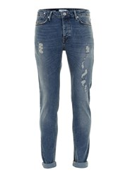 Topman Blue Vintage Style Ripped Stretch Skinny Jeans