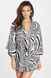 Josie Woodcut Print Happi Coat Black