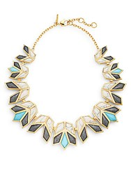 Lele Sadoughi Egyptian Deco Howl Marble And 14K Goldplated Lotus Bib Necklace Gold Multi