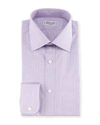 Charvet Madras Plaid Dress Shirt Pink Blue