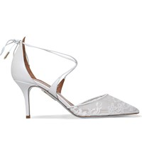 Aquazzura Matilde 75 Leather And Lace Bridal Heeled Pumps Winter Wht