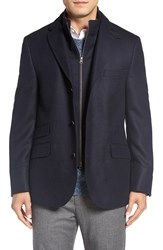 Flynt Men's Big And Tall Regular Fit Hybrid Wool And Cashmere Coat Navy