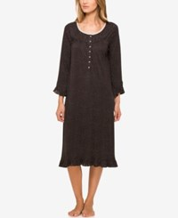 Eileen West Lace Trimmed Knit Waltz Length Nightgown Black Dot
