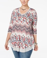 American Rag Trendy Plus Size Floral Print Top Only At Macy's Zinfindel Combo