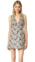 Alice Olivia Pacey Embroidered Dress Black Cream Gold