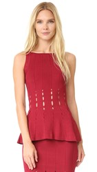 Cushnie Et Ochs Knit Peplum Top Ruby