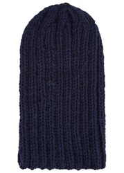 The North Circular Sini Navy Ribbed Alpaca Blend Beanie