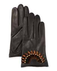 Ugg Studded Leather Short Gloves Blk B.Tan